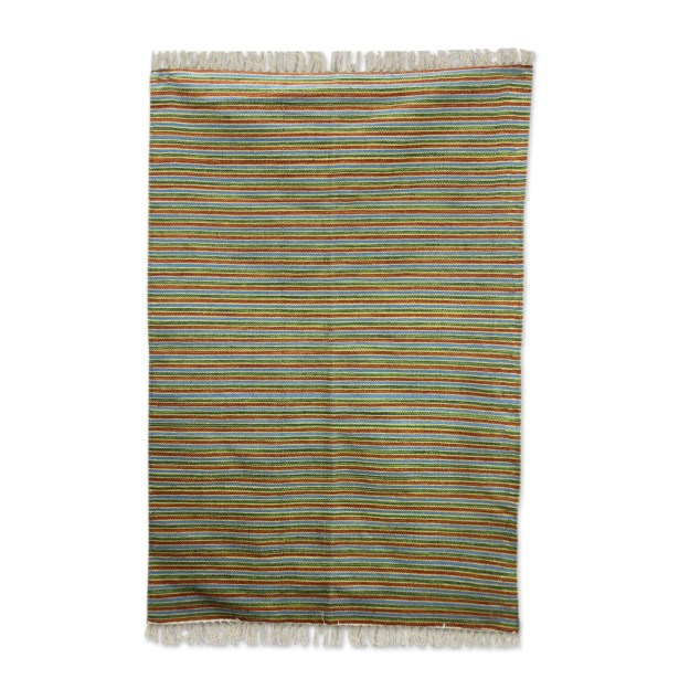 Hand Woven Blue/Yellow/Rust Area Rug