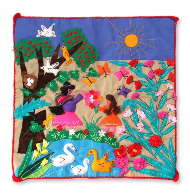 Happel Applique Mother's Day Pillow Cover