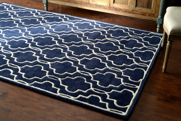 Venice Hand-Tufted Wool Dark Blue Area Rug Rug Size: Rectangle 8'6