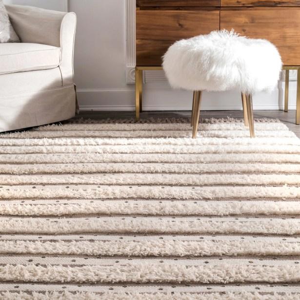 Samoset Hand Tufted Wool Ivory Area Rug Rug Size: Rectangle 7'6
