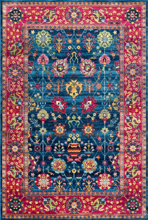 Vicki Blue/Red Area Rug Rug Size: Rectangle 7' 10