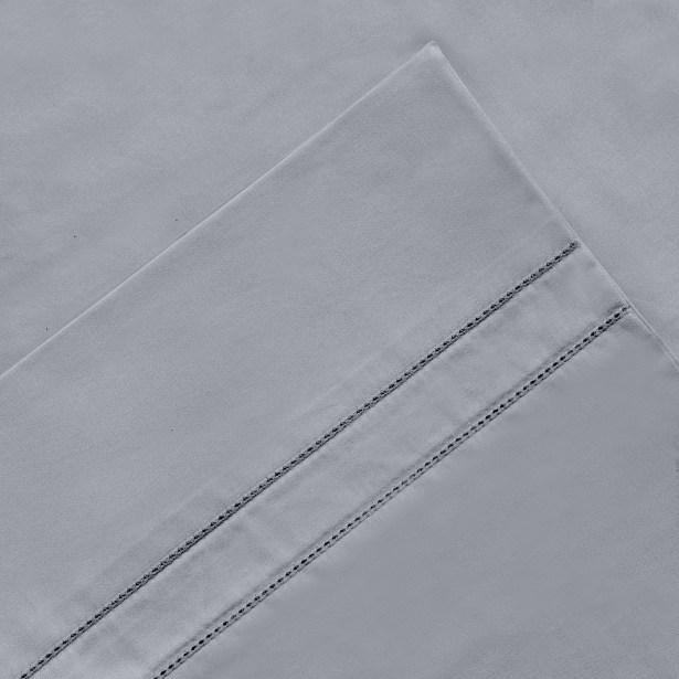 6 Piece 620 Thread Count 100% Long Staple Cotton Sheet Set Color: Storm Gray, Size: Queen