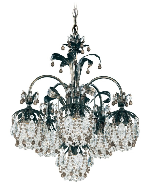 Rondelle 6-Light Shaded Chandelier Finish / Crystal Color: Antique Silver / Smoke