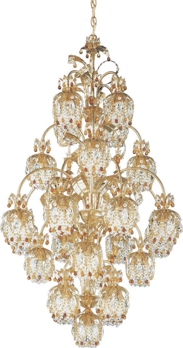 Rondelle 25-Light Shaded Chandelier Finish / Crystal Color: Etruscan Gold / Soft Jewel