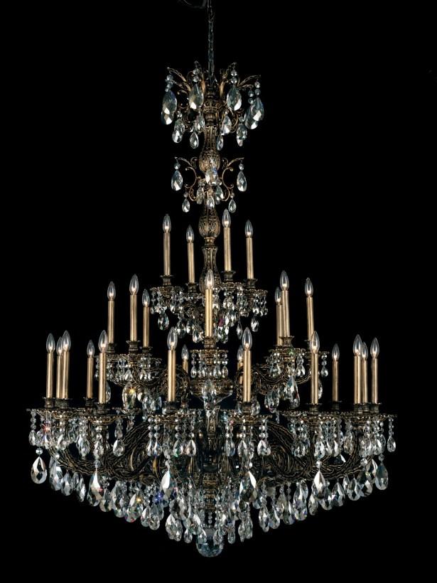 Milano 28-Light Chandelier Finish: Florentine Bronze, Crystal Color: Swarovski Spectrum