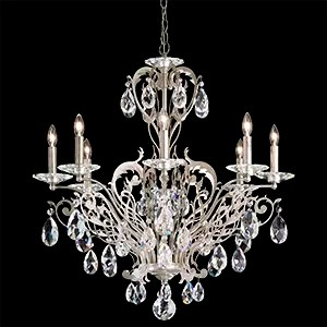Filigrae 8-Light Chandelier Crystal Type: Spectra Clear, Finish: Antique Silver