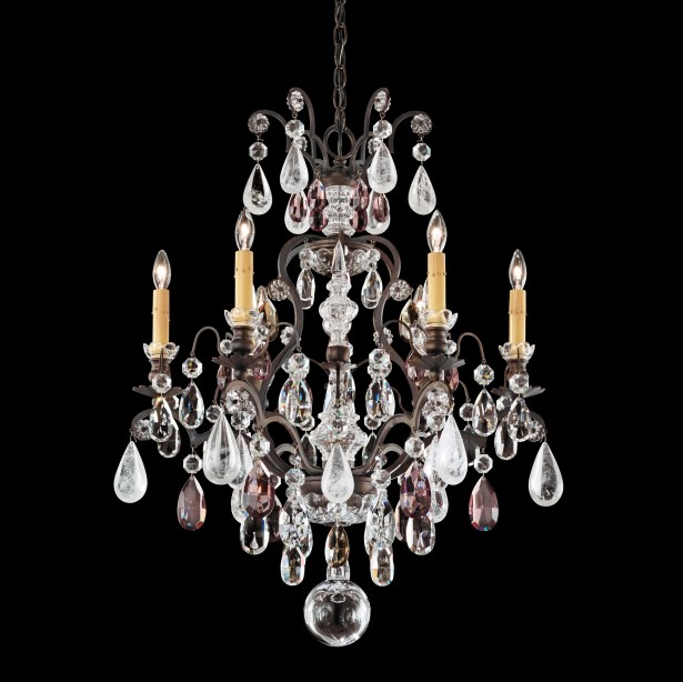 Renaissance 6-Light Candle Style Chandelier Finish: French Gold, Crystal Color: Olivine and Smoke Topaz Rock Crystal