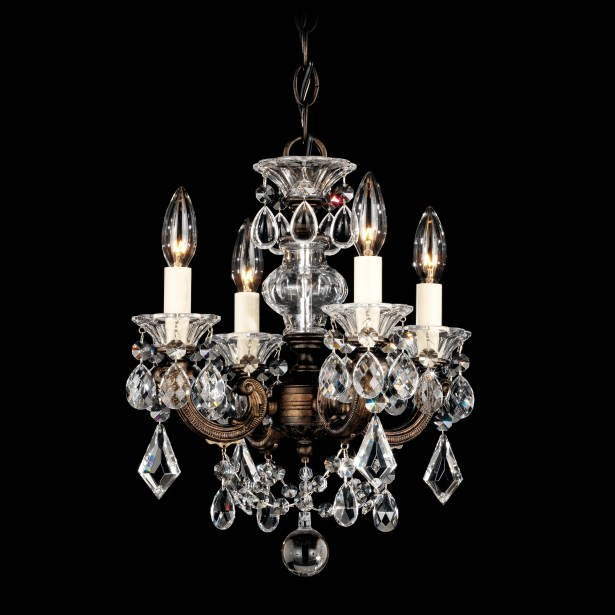 La Scala 4-Light Candle Style Chandelier Finish / Crystal Color: Etruscan Gold / Handcut Clear