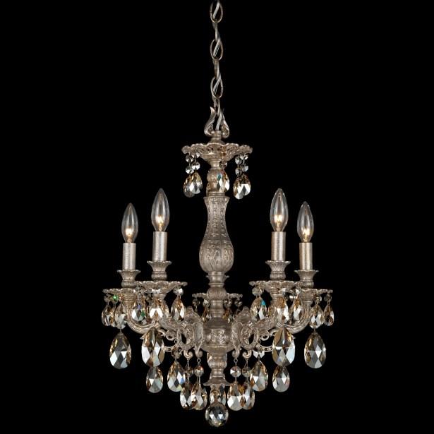 Milano 5-Light Chandelier Finish: Antique Silver, Crystal Color: Strass Golden Teak