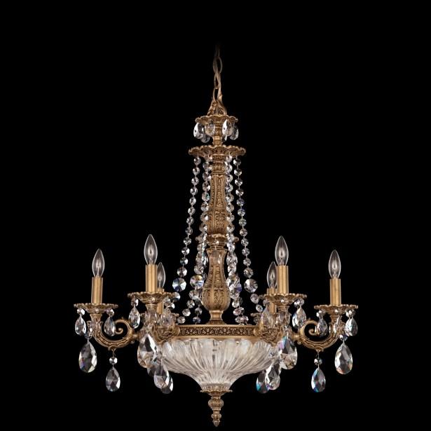 Milano 9-Light Chandelier Crystal Type: Optic Clear, Finish: Heirloom Bronze
