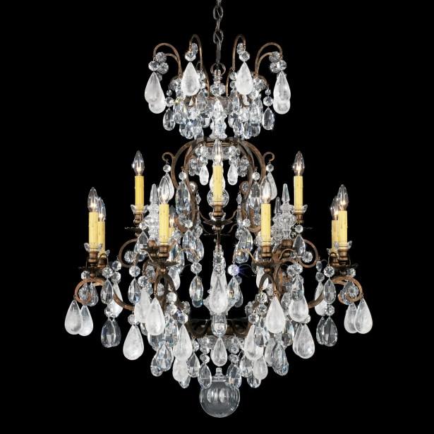 Renaissance Rock 12-Light Chandelier Finish: Heirloom Bronze, Crystal Color: Combination of Amethyst and Black Diamond