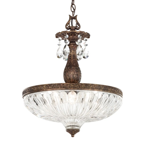Milano 4-Light Bowl Pendant Finish: Antique Silver, Crystal Color: Strass Golden Shadow
