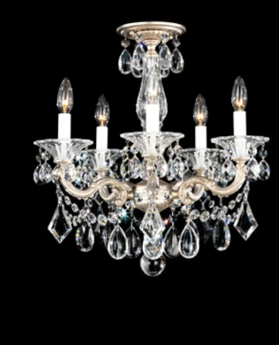 La Scala 5-Light Chandelier Finish / Crystal Grade: Antique Silver / Handcut Clear