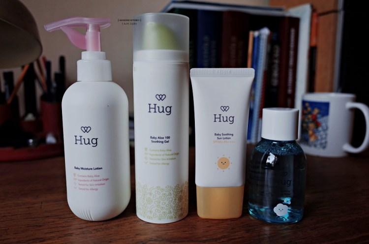 100%天然的Hug。嫩蘆薈溫柔呵護寶寶的肌膚