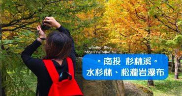 南投竹山∥ 杉林溪賞楓趣。黃金水杉林秋季換裝的繽紛色調、松瀧岩瀑布