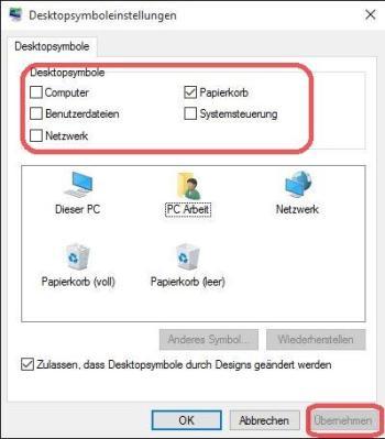 Desktop Symbole einschalten