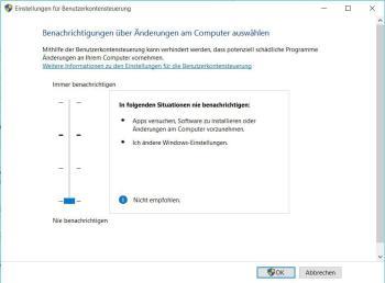 UAC: Benutzerkontensteuerung unter Windows 10 deaktivieren