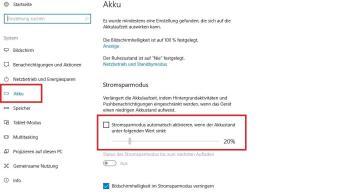 Der Stromsparmodus kann die Fehlermeldung unter Windows 10 auslösen (Bild: Screenshot)