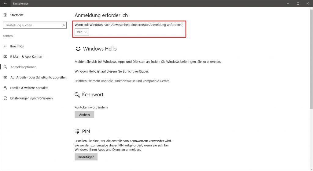 Windows 10 Start ohne Login