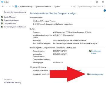 Windows 10: Product Key ändern