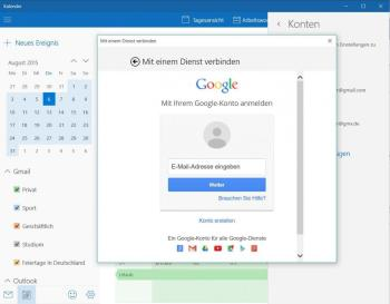 Google-Konto im Windows-Kalender