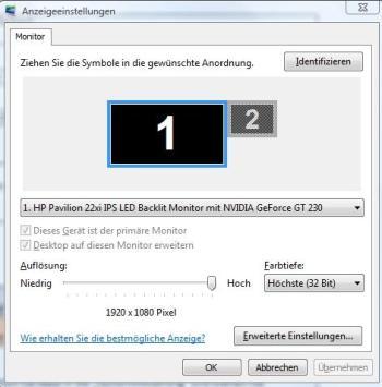Anpassen der Bildschirmauflösung unter Windows