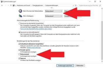 Einschalten des Ruhezustands unter Windows 10