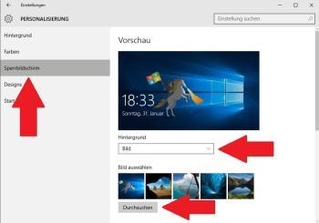 Ändern des Sperrbildschirms unter Windows 10