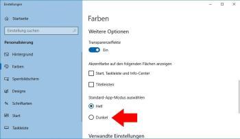Den Dark – Modus unter Windows 10 aktivieren