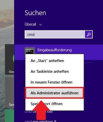 Windows 7 und 8: Start der Eingabeaufforderung als Administrator