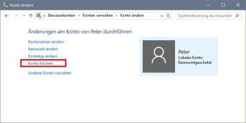 Windows 10: Konto löschen