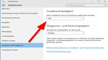 Feedback-Funktion unter Windows 10 deaktivieren Screenshot