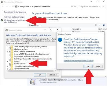 Windows 10: IE deaktivieren