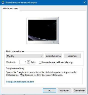 Bildschirmschoner unter Windows 10