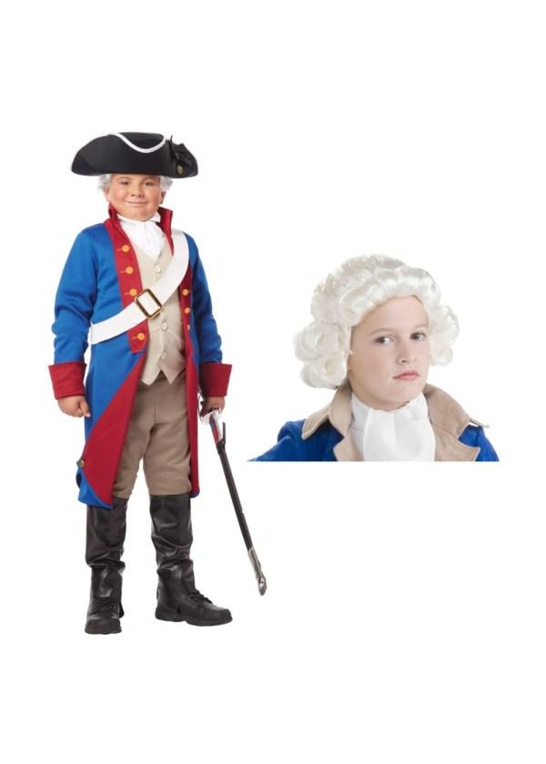 American Patriot And Wig Boys Costume Set - Patriotic Costumes