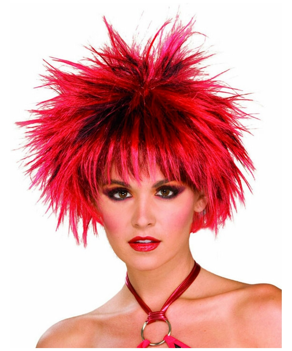 80s Spiked Wig Red And Black Adult Wig Halloween Wig