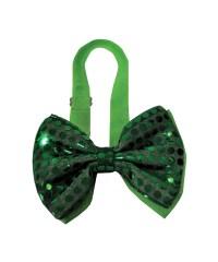 Green Light Up Sequin Bow Halloween Tie - Halloween Accessory