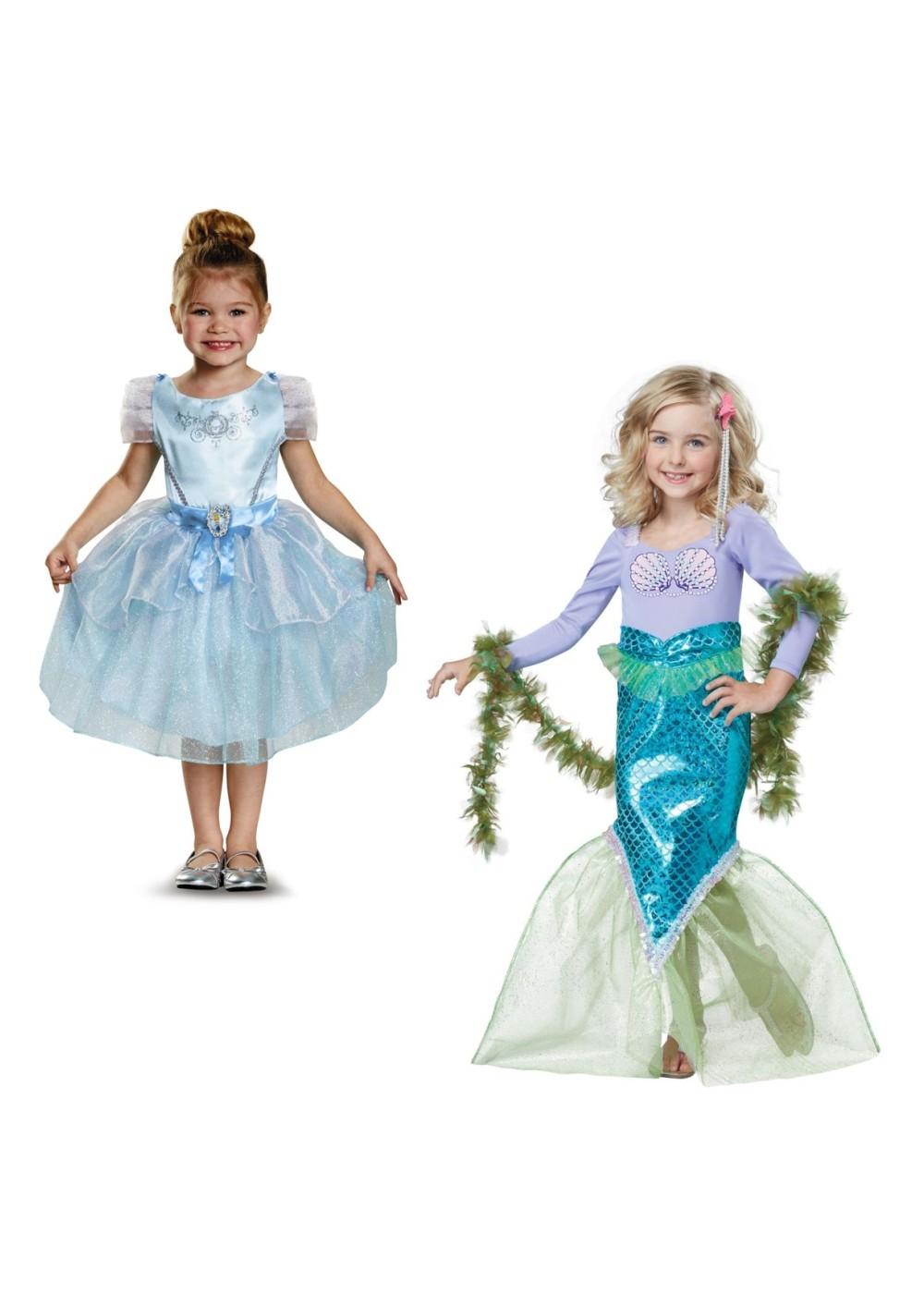 Cinderella Costume and Magical Mermaid Girls Costumes Set  Princess Costumes