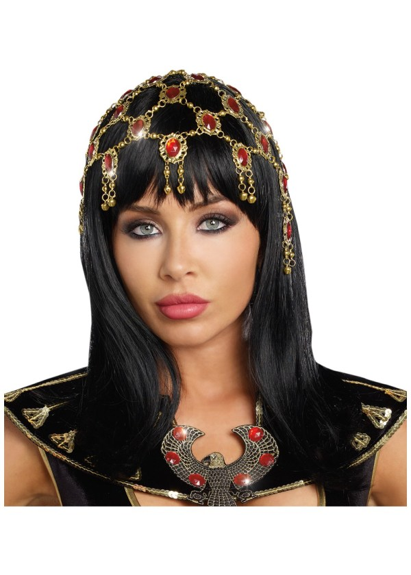 Egyptian Red And Gold Women Headpiece - Accessories
