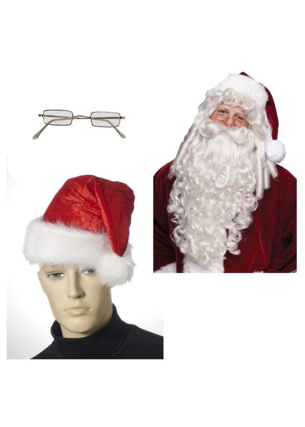 Santa Hat Wig Beard And Glasses Costume Kit - Christmas