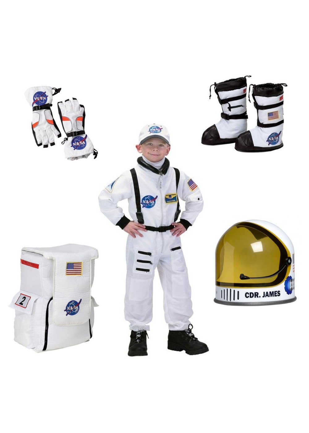 Astronaut Boys Costume Helmet Gloves Boots and Backpack
