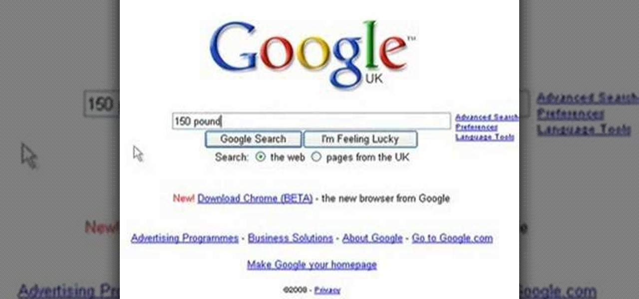 How to Use Google to easily convert kilos to pounds « Science Experiments