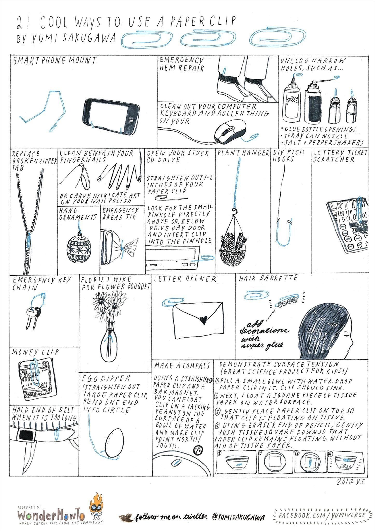 21 Cool Ways to Use a Paper Clip « The Secret Yumiverse