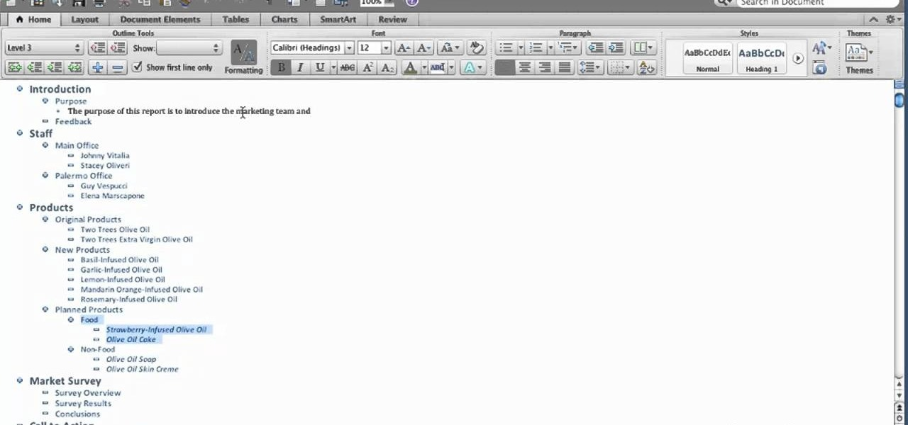 How to View an outline in Microsoft Word for Mac 2011