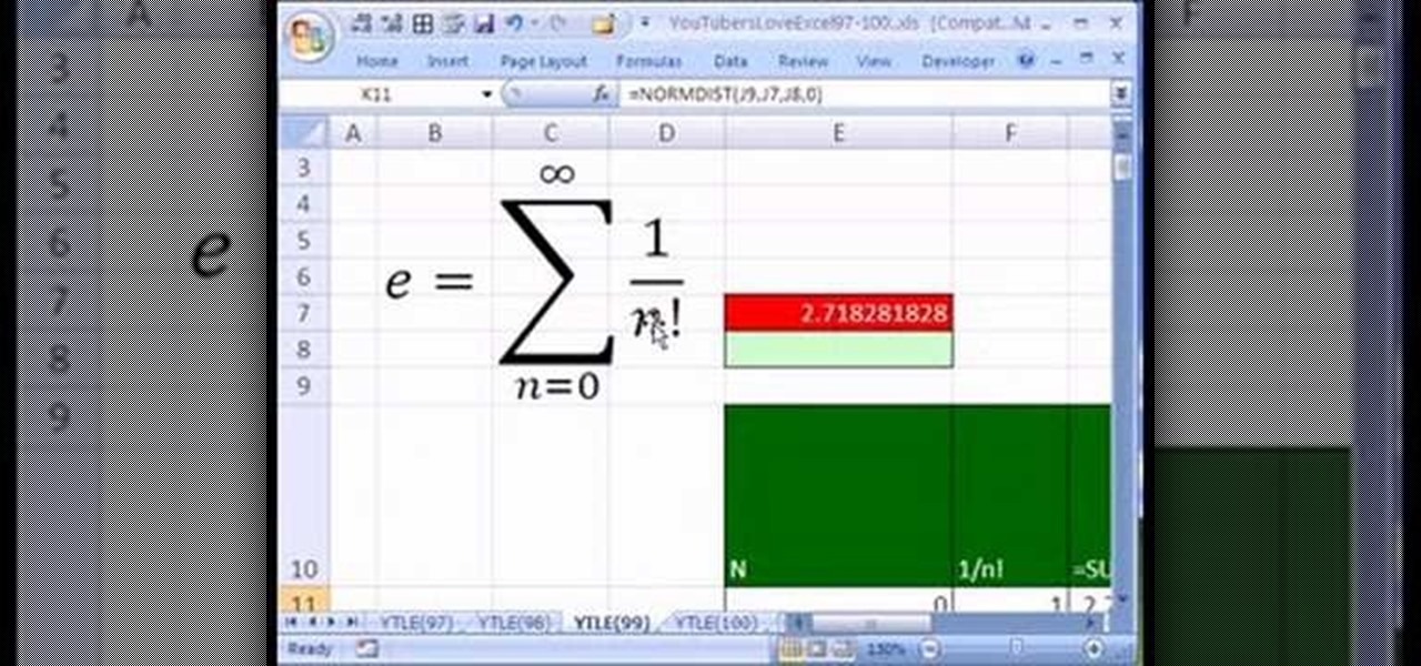How to Use the number e in a Microsoft Excel spreadsheet « Microsoft ...