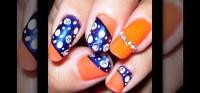 How to Create a neon orange and dark blue nail art design ...