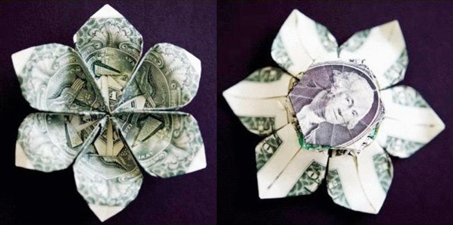 Money Origami 10 Flowers To Fold Using A Dollar Bill