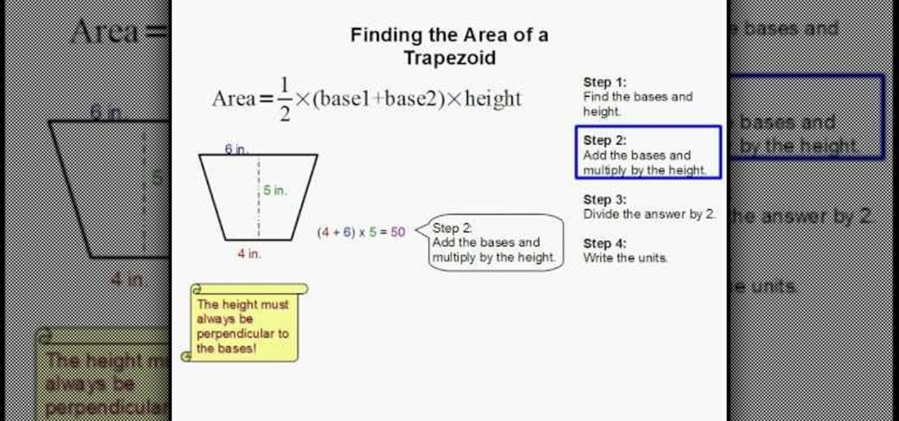 How to Find the area of a trapezoid easily  Science Experiments  WonderHowTo