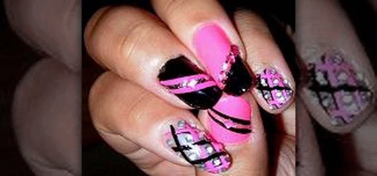 How To Create A Hot Pink And Black Nail Art Design Nails Manicure Wonderhowto