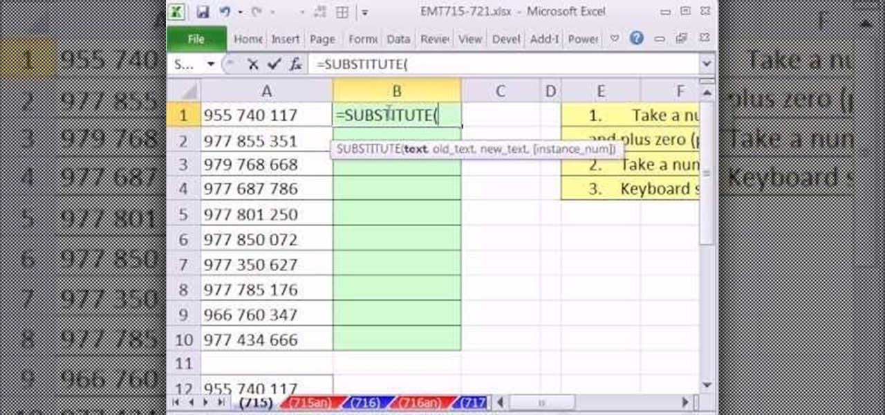 How to Remove spaces from numbers in Excel with the